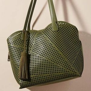 Moss Green Covent Garden Tasseled Tote
